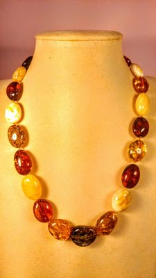 Genuine Baltic amber multi colour necklace,  47 grams