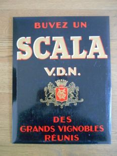 Rare glacoid advertising sign of  'Buvez un Scala V.D.N.' from 1950