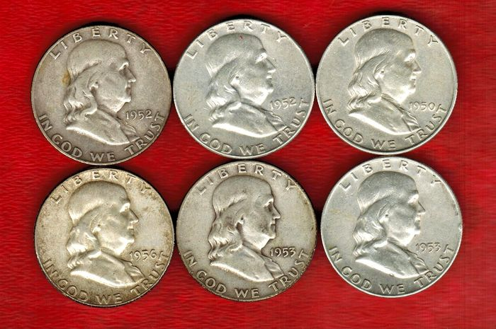 United States Collection Of 6 Coins 1 2 Dollar Franklin