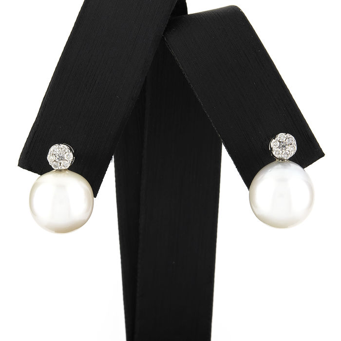 18 kt (.750) white gold - Earrings - Diamond 0.25 ct - Australian South Sea pearls