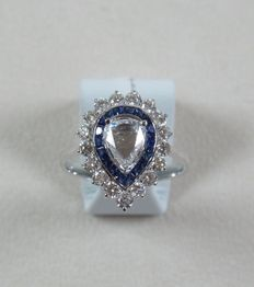1.60ct diamond and sapphire ring made with 18ct white gold