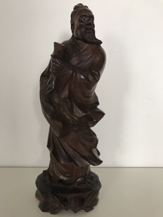 Large figurine, Wooden sage - China - From the 1930s