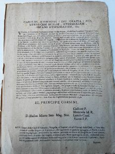King Charles of Bourbon, Kingdom of the Two Sicilies - Edict concerning ships stranded in Sicily - 1738