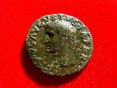 Roman Empire - Tiberius (14 - 37 A.D.), bronze dupondius (9,89 g. 27 mm). Issues in honour of Divus Augustus, Rome mint, 22-30 A.D. PROVIDENT / Ara. Rare coin.