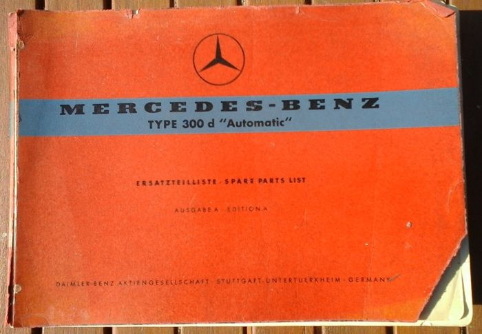 Mercedes Benz - W189 type 300d Automatic - Catalogue des pieces detachees - 1958