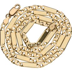 14 kt yellow gold Figaro link necklace - 52 cm