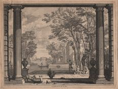 Isaak de Moucheron (1667 - 1744) - View on a garden terrace with lake and classical buildings - Ca. 1700