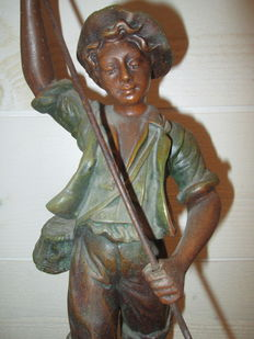 """Georges Omerth (act 1895-1925) - sculpture in babbitt with bronze patina - """"Fisherman"""" - early twentieth"""