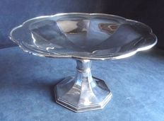 Antique, Large Victorian Fruit Bowl with pedestal, in English Silver Plate, 1900, by George Wish of Sheffield