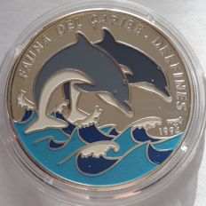 Cuba - 10 Pesos 1994 'Multicolored Bottle-Nosed Dolphins' - Silver