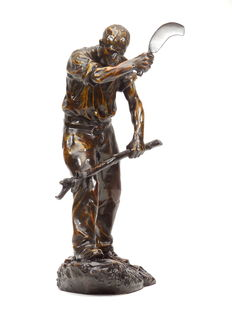 Paul Richer (1849-1933) - bronze sculpture 'The lumberjack' - early 20th century