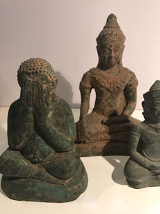 Three seated Buddhas – Southeast Asia – 2nd half 20th century