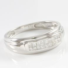 Men's  14kt White Gold  Wedding Band Set With Diamonds