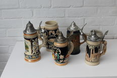 Lot of 6 beer mugs - most from Germany - 20th century.