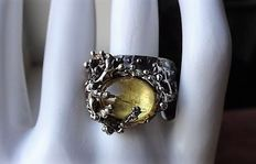 "Large, handmade ""lost wax"" sterling silver ring with beryl"