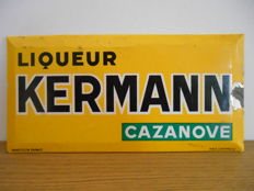 Rare glacoid advertising sign for ' Liqueur Kermann Cazanove ' from 1950