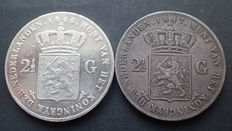 The Netherlands – 2½ guilder 1846 (sword) and 1847 Willem II – silver