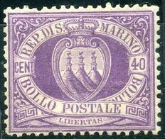 San Marino, 1877 – coat of arms 40 Cents dark lilac – Sassone No.  7