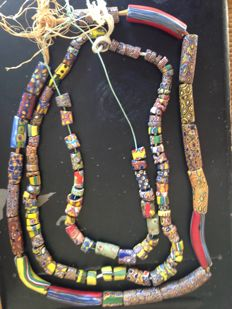 3 Venetian-African necklaces made of Millefiori pâte de verre. 19th century. West Africa (Gabon).