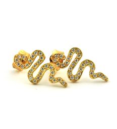 54 Diamonds (total 0.30ct G/SI1) & 18k Yellow Gold Serpent Earrings - sizes: 18 x 10 x 12mm