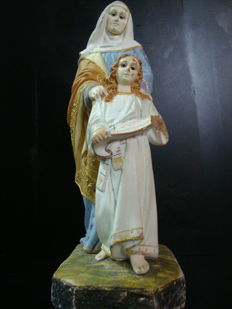 Figurine of St. Anne and Child ( Glass Eyes ) - Portugal - 19th Century