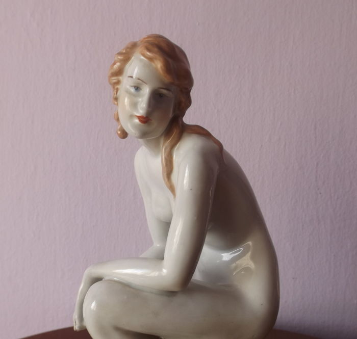 Zsolnay Pecs Hungary - Porcelain Nude Kneeling Figurine Art Deco Style