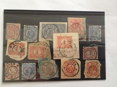 Netherlands - Batch of large round cancellations on 24 stock cards
