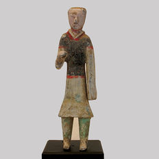 A Painted Grey Pottery Figure of a Soldier, Han Dynasty - 25.5cm