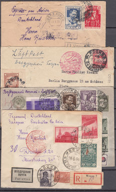 """Soviet Union 1931/1934 – Lot composed of four letters with the red marking:  """"Transported by the Central Airport Air Courier"""""""