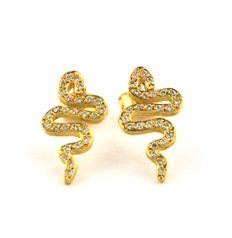 Diamond (0.30ct) & 18k Yellow Gold Serpent Earrings