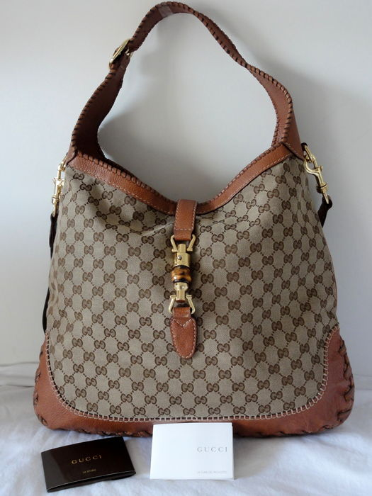 0d857733f9d1 Gucci – Jacky canvas – Guccissima Leather & Bamboo Hobo – shoulder bag