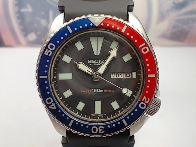 SEIKO MEN'S DIVER WATCH - 150M SCUBA DATE AUTOMATIC 6309-7290 BLACK/PEPSI BEZEL (1987)