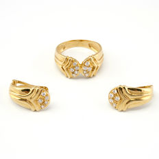 18 kt gold - Set of ring and earrings - Zirconias.