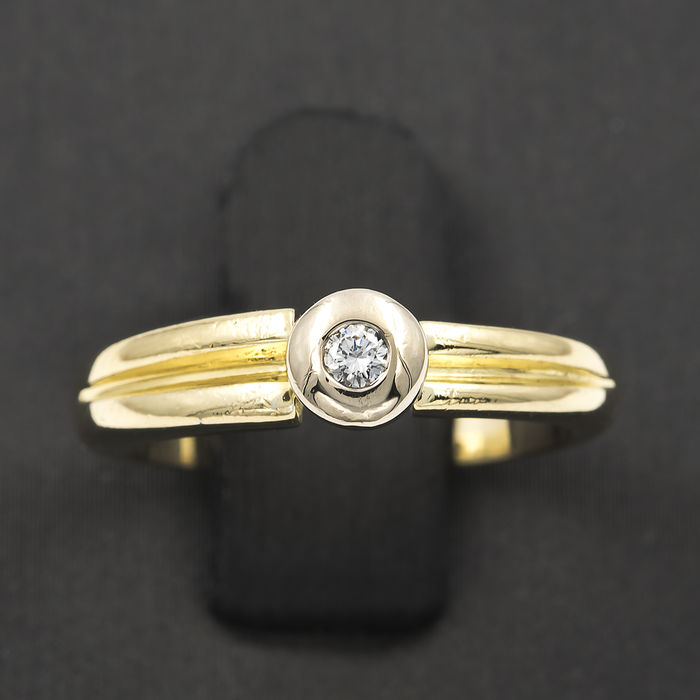 Yellow and white gold 18 kt (750) - Cocktail ring - Central Diamond of - Size 8 (SP)