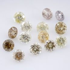 14 Diamonds - 0.32 ct. Mix Color - Round Brilliant - *** NO RESERVE ***