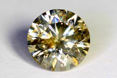Diamond, 1.12 ct, fancy greenish yellow, no reserve price