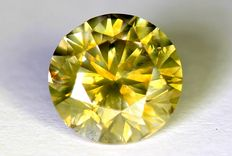 Diamond – 1.01 ct – Fancy Greenish Yellow – SI1 – No Reserve Price