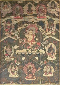 Thangka With White Jambhala - China / Tibet - 19th Century