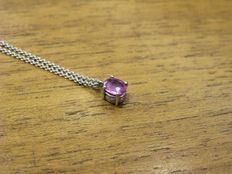 18 kt white gold necklace with pink faceted oval cut tourmaline - Chain lenght 41 cm