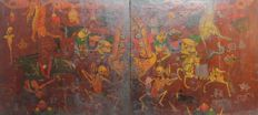 Cabinet Doors with Citipati and Deities - China / Tibet - 18th-19th Century