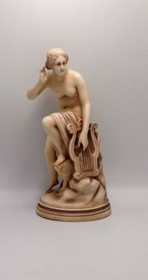 Alfred Stellmacher - Girl with Harp figurine - Bisque Porcelain, 1859-1894