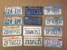 12 various American license plates - Washington, California, Mntana