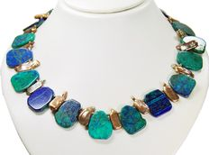 Necklace with Biwa pearls and azurite malachite - 925 silver clasp - necklace length: 46 cm