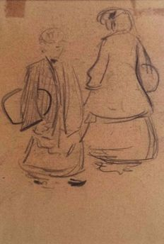 Heinrich Zille (1858 - 1929) - Studies of pedestrians (recto) - Studie of a woman (verso)