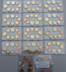 Europe - series of euro coins 1 cent thru 2 euro 2007/2009 (14 sets)