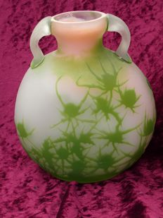 Emile Gallé - Gourd Vase with Green Thistle Decor