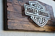 Large H-D sign - wood and iron art cm 100 x 54 - 1990s