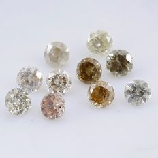10 Diamonds - 0.22 ct. Mix Color - Round Brilliant - *** NO RESERVE ***