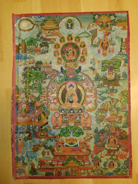 Original hand-painted Thangka (Size: 76 cm x 53 cm.) - Tibet - late 19th century/early 20th century