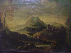 Italian School - (17th - 18th) - Mountanious landscape with hersman and cattle, a mansion in the distance